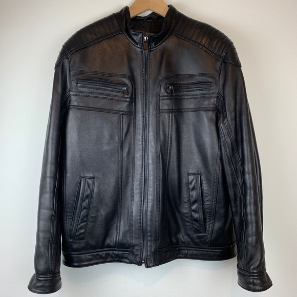 Marc New York Andrew Marc Other - Marc New York Andrew Marc Black Leather Moto Coat